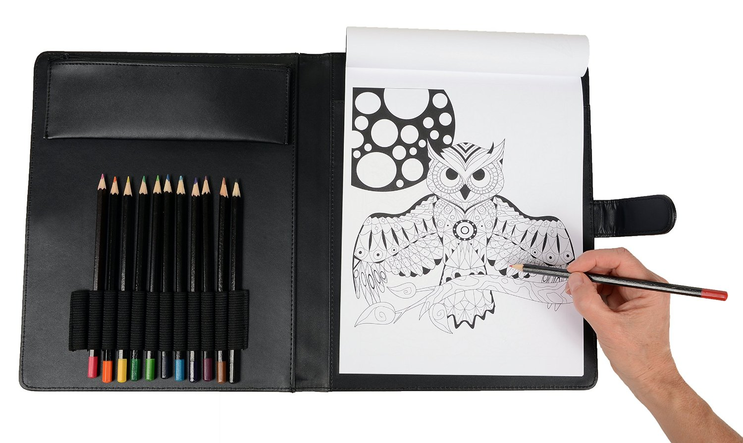 An Adult Coloring Book Colored Pencils A Small Zip Closed Pouch Sharpener And Very Nice Portable Carrying Case With Magnetic Closure