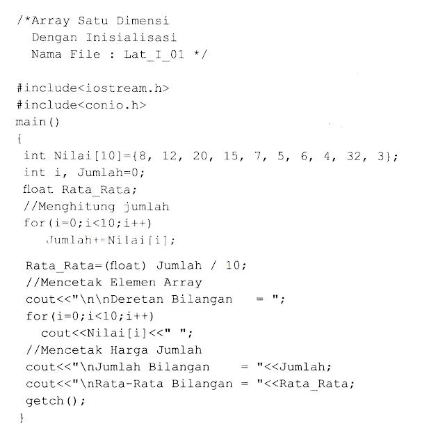 Pengertian Array dan Pembahasan Array satu dimensi dalam C++