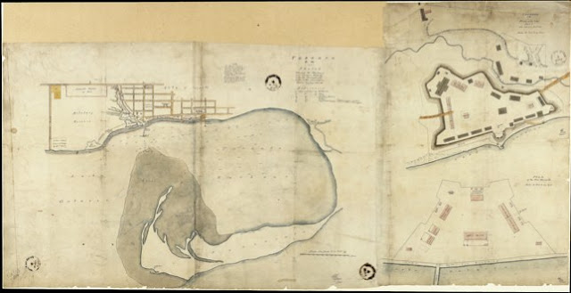 1846 Gray: Toronto, C.W. Sketch shewing the Harbour, and Ordnance Property with the Encroachments... [Stanley Barracks]