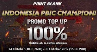 Promo Top Up PB Garena 24 Oktober 2017 PBIC Champion 100%