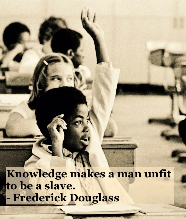 Photo of a young black students, boy raising his hand. Knowledge quote by Fredrick Douglass. Other stories of Racism and Civil Rights. Well said, Mr. Douglass. marchmatron.com