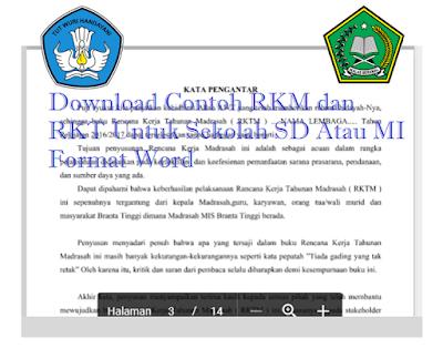 Download Contoh RKM dan RKT Untuk Sekolah SD Atau MI Format Word