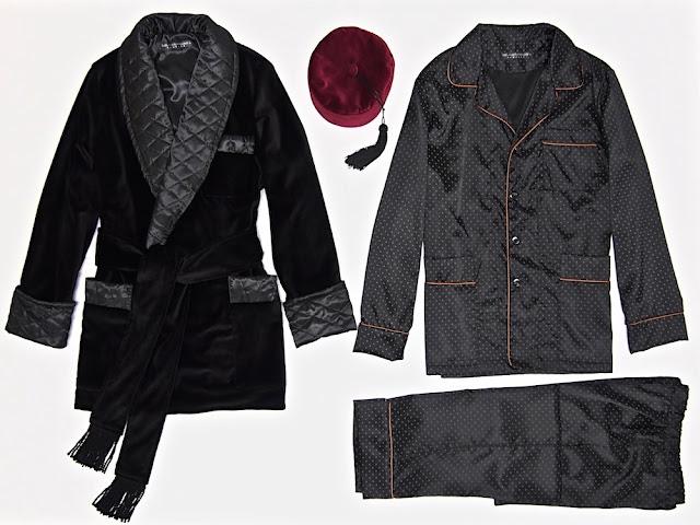 Mens black velvet smoking jacket quilted silk vintage robe pajamas