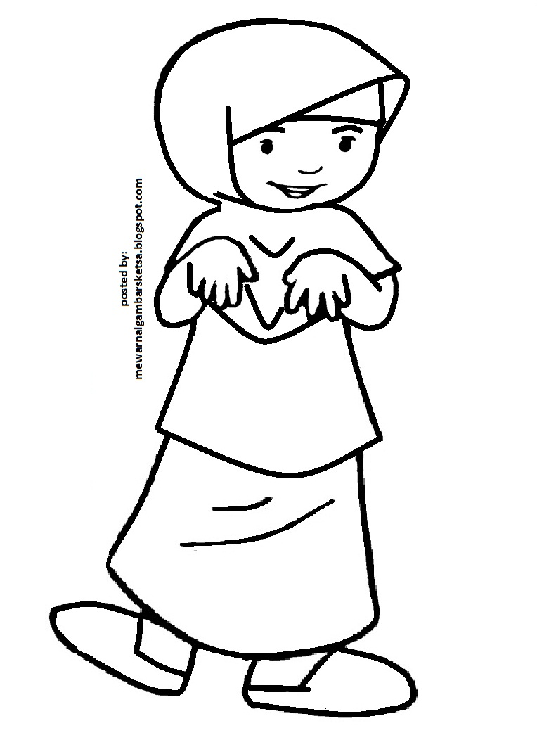 mewarnai gambar sketsa anak muslimah 138