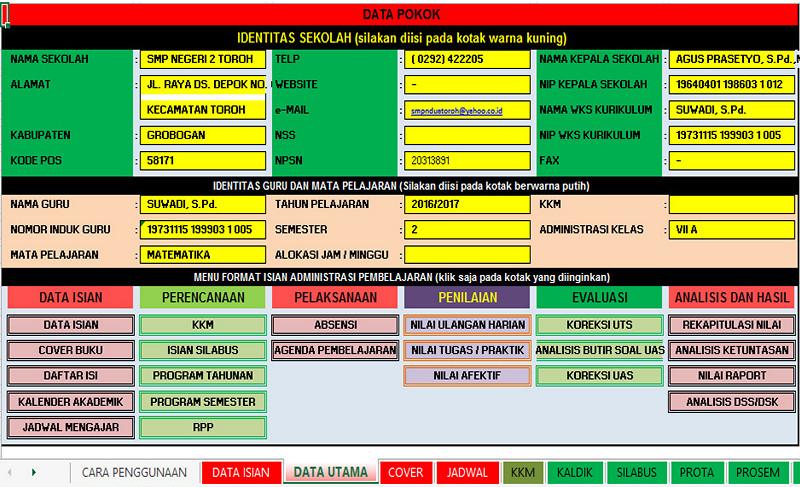 Unduh Aplikasi Administrasi Guru Dalam Bentuk Excel Format Lengkap