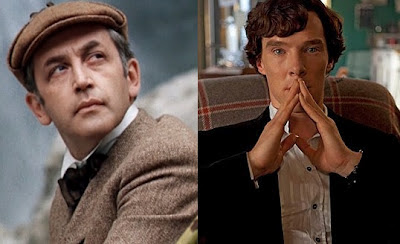 Vasily Livanov and Benedict Cumberbatch as Sherlock Holmes