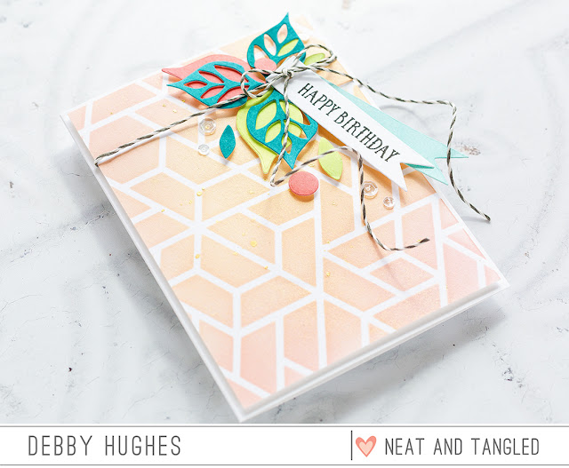 Die cut focal point birthday card by Debby Hughes. Find out more by clicking on the following link:  http://neatandtangled.blogspot.com/2017/03/die-cut-focal-point-with-debby-hughes.html
