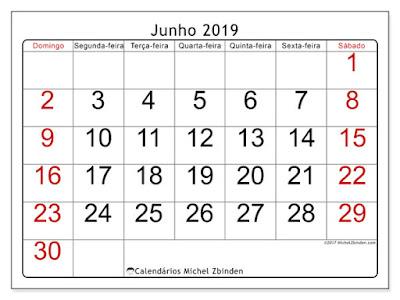 Calendário junho/2019