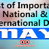 MAY - List of Important National and International Commemorative Days (May Month)