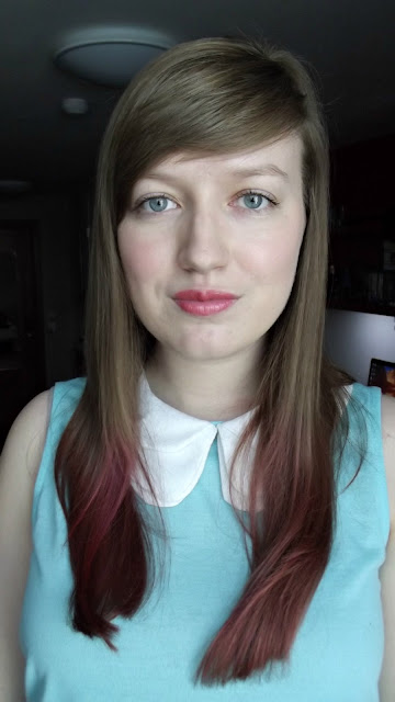 pink dip dye on brown hair