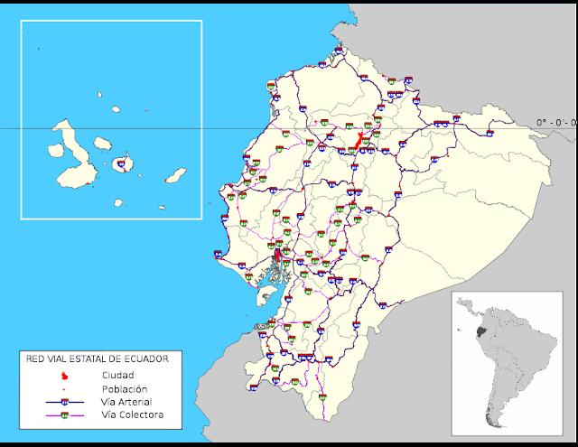 mapa carreteras ecuador