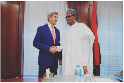 President Buhari Receives US Secretary Of State, John Kerry Vows To Show Support