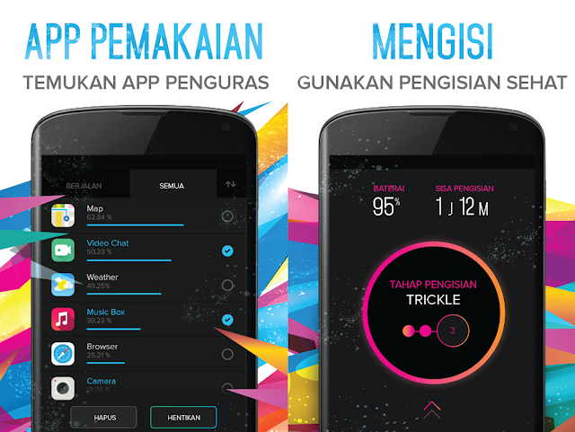 screenshot pemakaian aplikasi dan proses pengisian daya