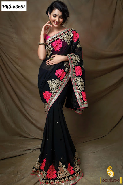 wedding wear Indian fashion black georgette designer saree online shopping with discount offer sale at pavitraa.in