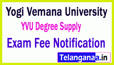 Yogi Vemana University UG 1st/2nd / 3rd Year Supply Exam Fee Notification