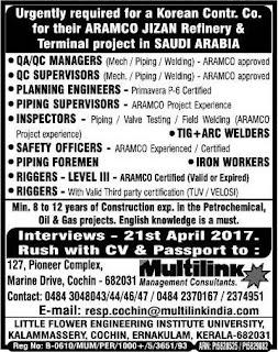 Aramco Jizan Refinery project jobs in Saudi Arabia