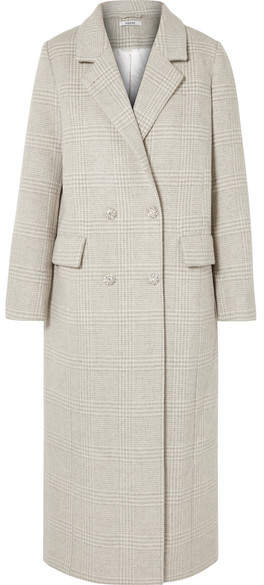 GANNI - Woodside Crystal-embellished Checked Wool-blend Coat - Light gray