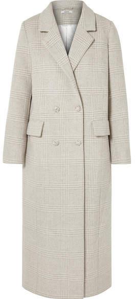 GANNI - Woodside Crystal-embellished Checked Wool-blend Coat - Light gray