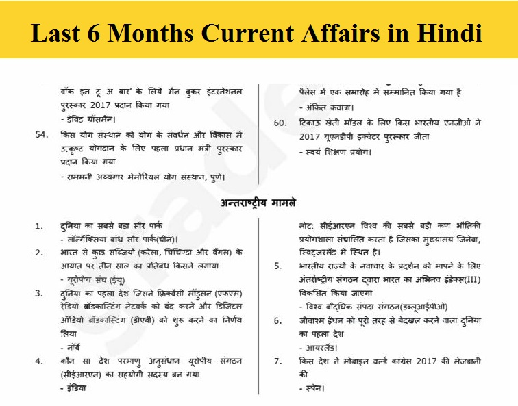 Last 6 Months Current Affairs in Hindi 2019 - Download PDF