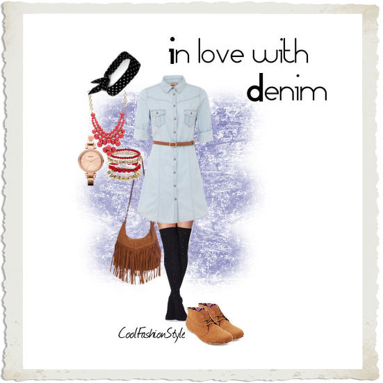 set on polyvore camicione in denim