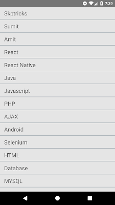 React Native Simple FlatList Component Android Example