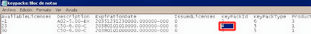 KeyPackId del paquete de licencias