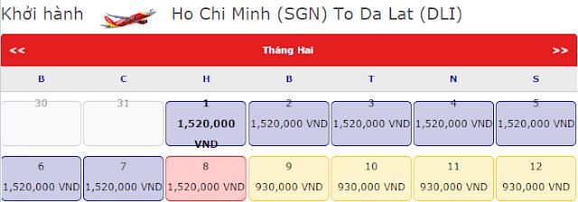 Vé máy bay tết Hồ Chí Minh đi Đà Lạt chỉ 1,520k