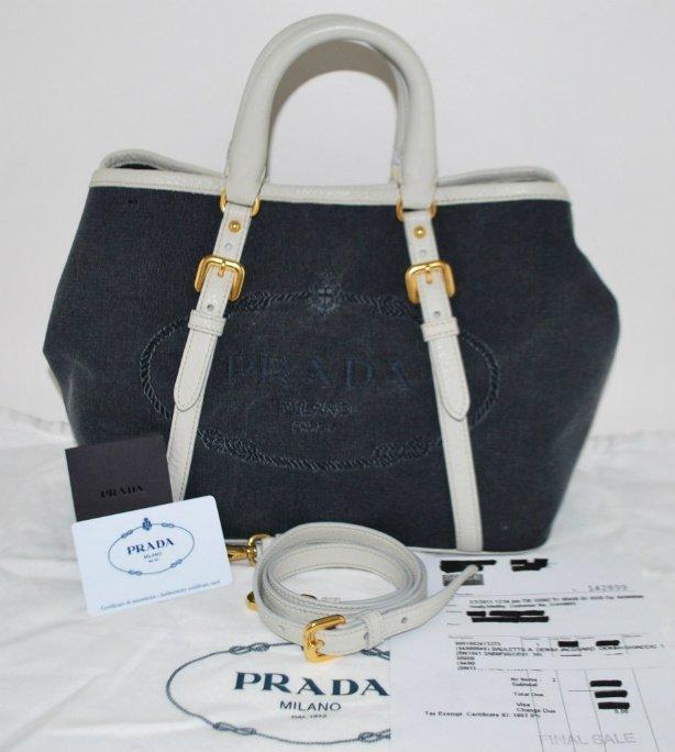 Original Handbags In Malaysia New Prada Bauletto Denim Jacquard Bag