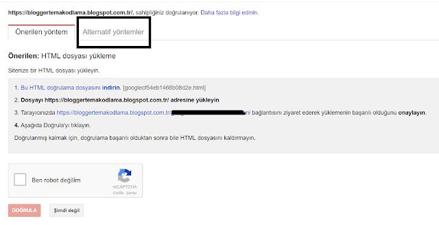 Blogger site doğrulama yöntemleri