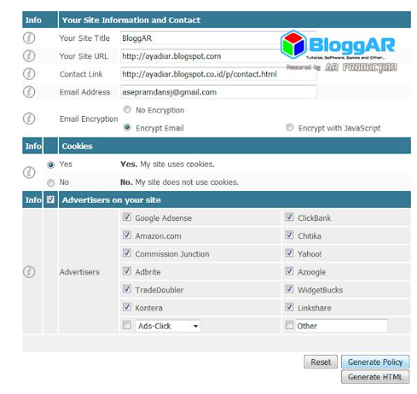 Cara Instan Membuat Privacy Policy Untuk Blog