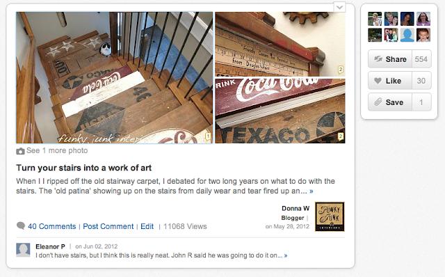 HomeTalk featuring painted stairway Funky Junk Interiors