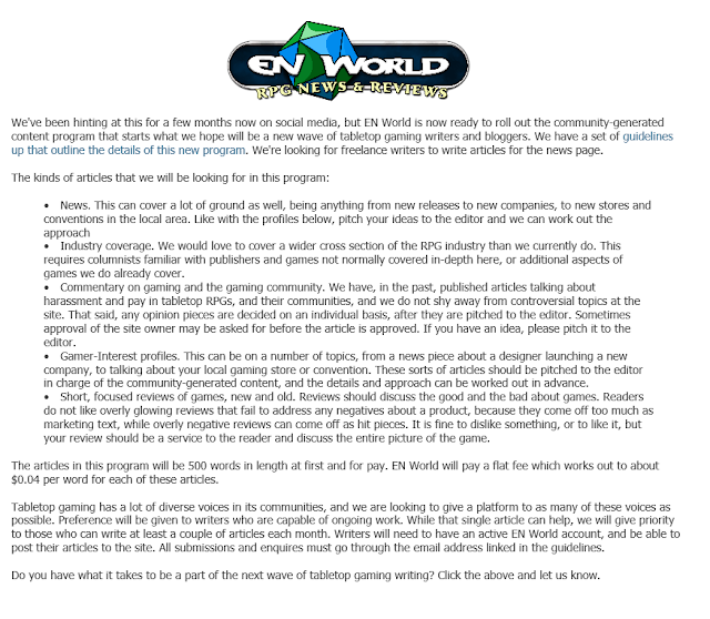 http://www.enworld.org/forum/content.php?3982-The-Next-Wave-Of-Tabletop-Gaming-Writing-At-EN-World