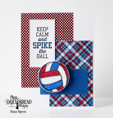 Our Daily Bread Designs Stamp/Die Duos: Volleyball, Custom Dies: Pierced Rectangles, Paper Collection:Old Glory