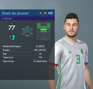 PES 2019 Faces Youcef Belaïli by TiiToo Facemaker