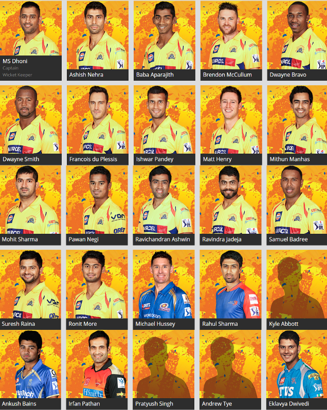 IPL-8 Chennai Super Kings (CSK) 2015 Full Team Players ...