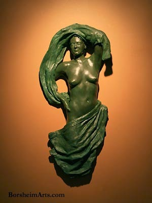 Lookout Bronze Wall Art Sculpture Female figure in Tapestry