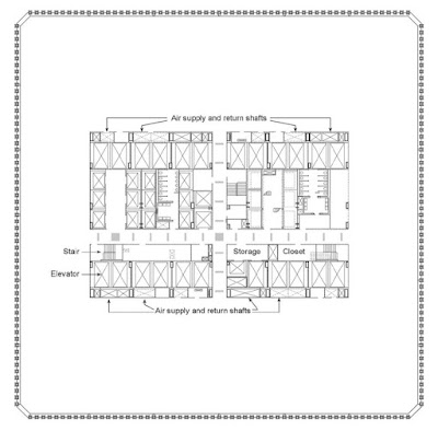 Office plan of the Twin Towers vía archdaily.com