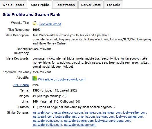 Just Web World Site Information
