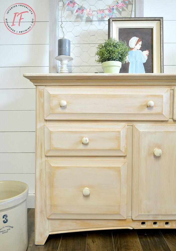 Whitewashed Farmhouse Sideboard Buffet