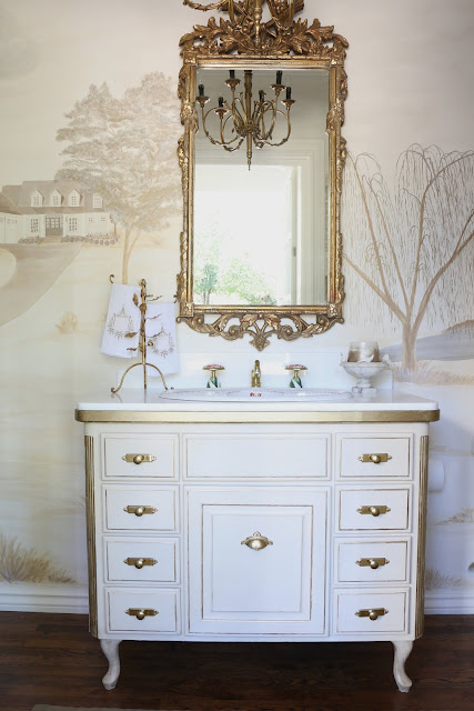 Epic I painted this existing built in to give the look of an old worn antique piece The full tutorial is on week one The towel stand and marble bowl are both