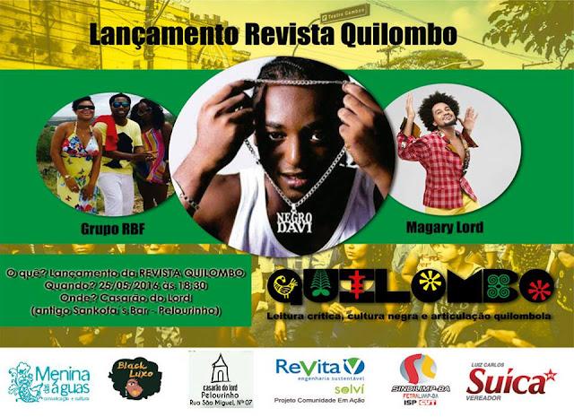 Convite oficial lançamento da revista quilombo na Bahia