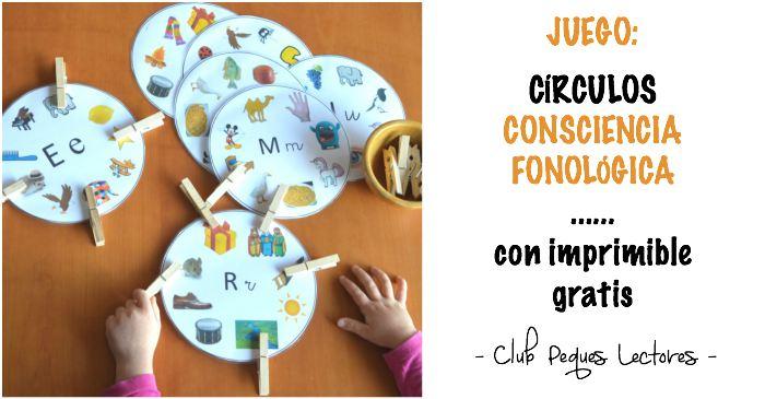 juego imprimible descargable círculos consciencia fonológica lectoescritura