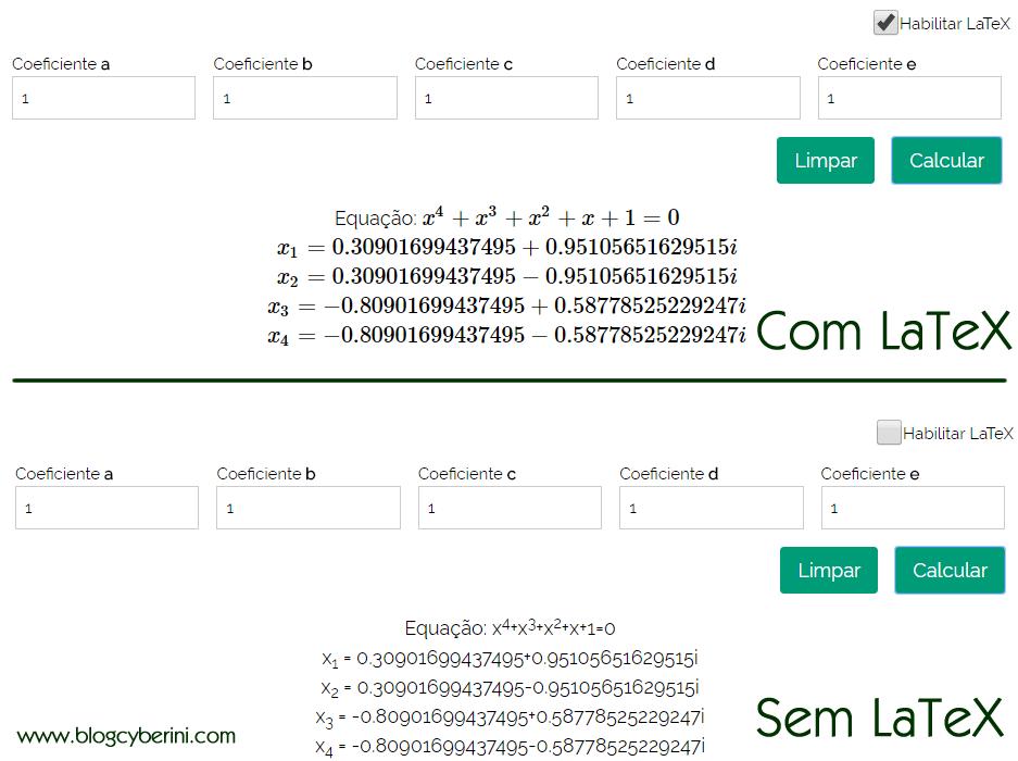 Calculadora para equações do quarto grau com e sem LaTeX