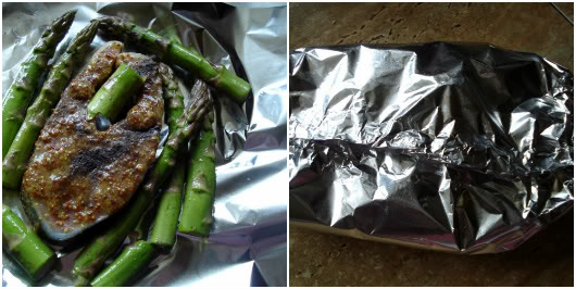 Salmon steaks with asparagus by Laka kuharica: Place salmon steak on a double thickness of aluminum foil