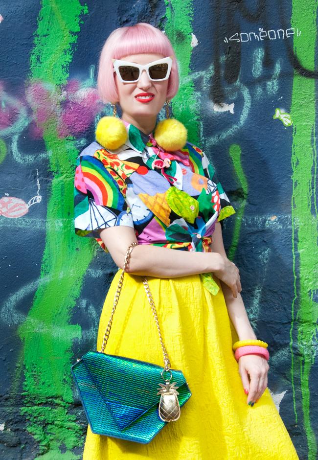 pom pom earrings, rainbow print, flamingo necklace