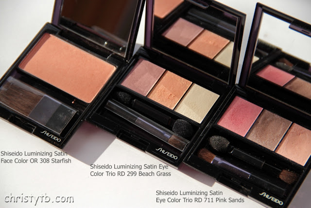 Shiseido S/S 2013: Luminizing Satin Eye Color Trio RD299 Beach Grass, Perfect Rouge RD142 Sublime