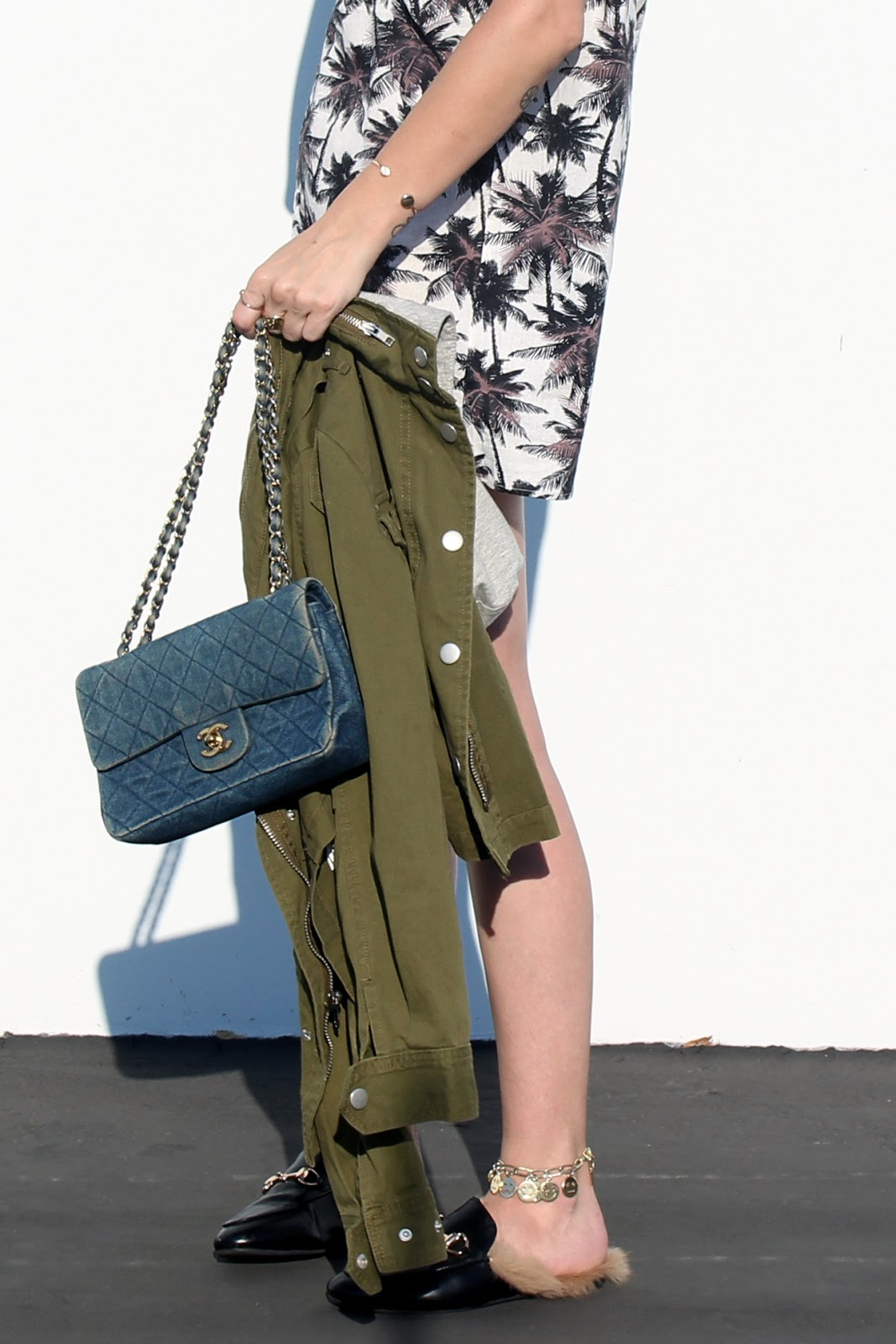 shirt dress, loafers and army jacket