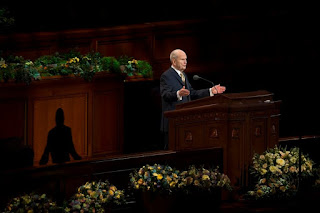 (Jeremy Harmon | The Salt Lake Tribune) President Russell M. Nelson announces the church will no longer have home teachers or visiting teachers during the Sunday afternoon session of General Conference on April 1, 2018.