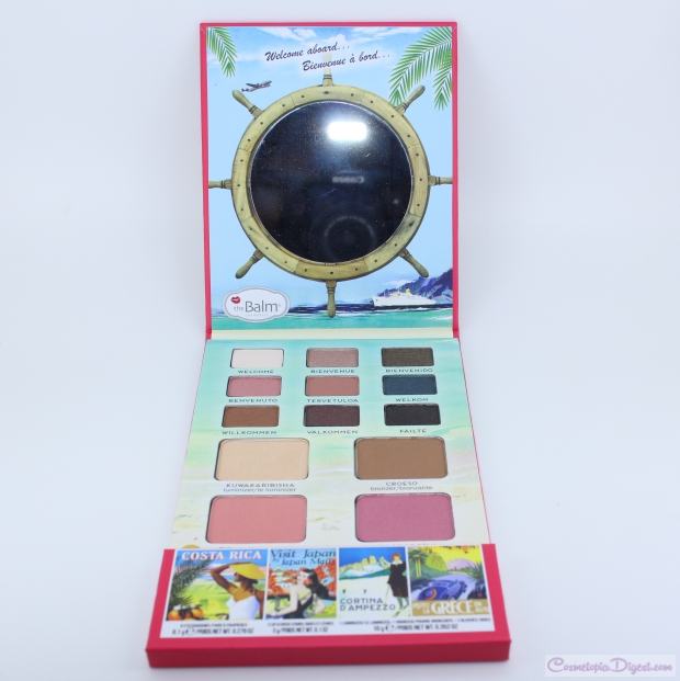 Swatches and review of theBalm Cosmetics Balm Voyage Vol. 2 face palette, a travel makeup palette.