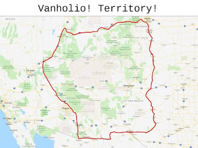 Map of Vanholio's Territory, mostly the Colorado Plateau